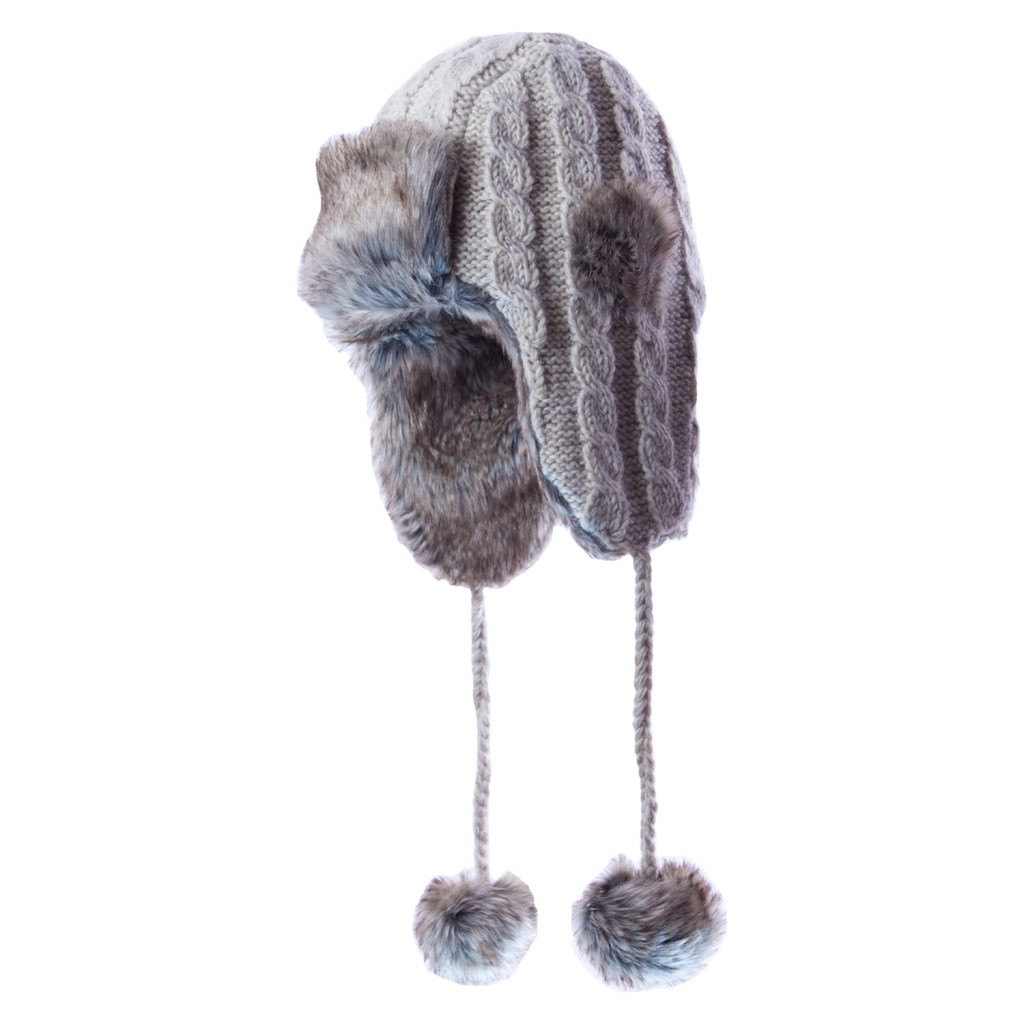 grey faux fur lined trapper hat