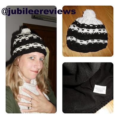 Black White Intricate Crochet PomPom Beanie