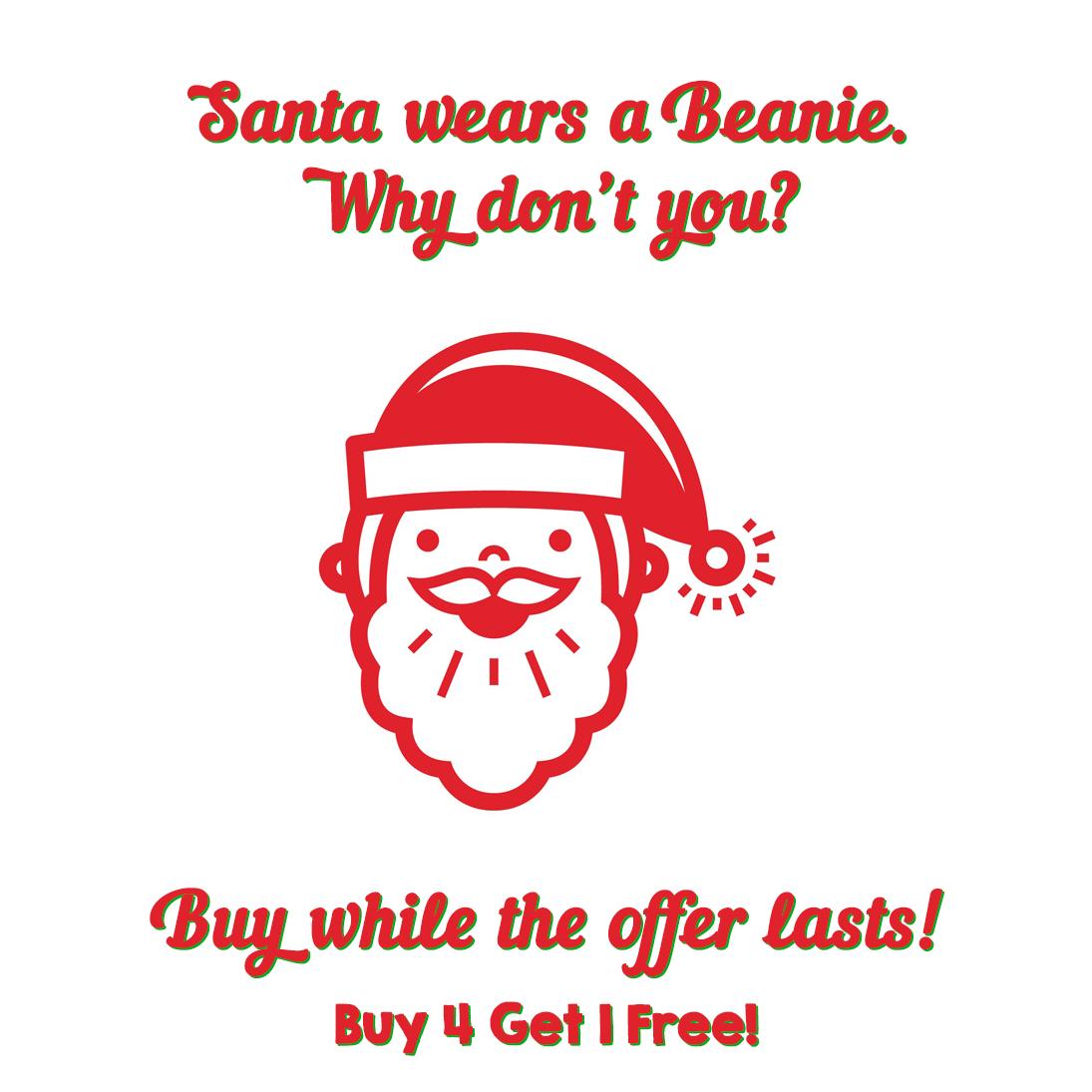 santa wears a beanie