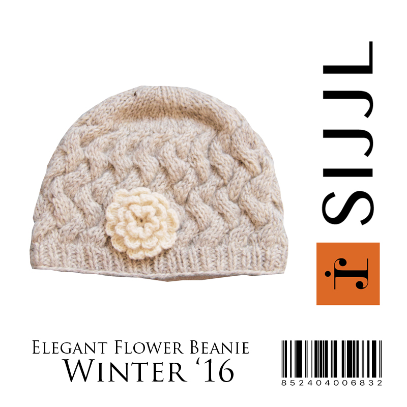 Elegant knitted flower beanie