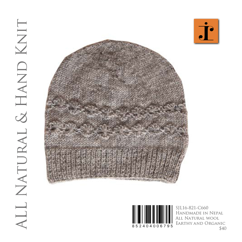 Natural wool knit hat
